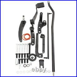 Black Forward Controls Kit Foot Pedal Pegs Levers Linkage Steel For Harley Dyna