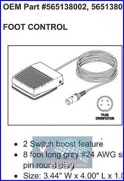 Foot Switch Control Pedal for Dentsply Cavitron SPS with 8' Cord 565138002
