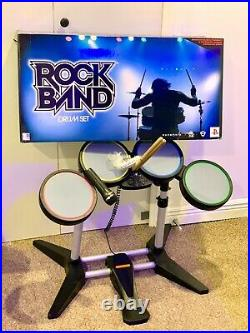 Harmonix Rock Band 822148 Wired PS3 Drum Set With Foot Kick Pedal, Mic, Hub Tested
