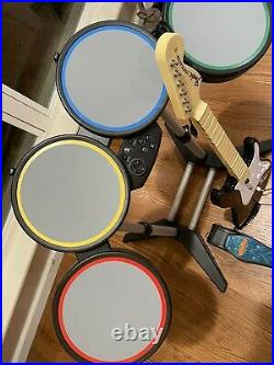 Harmonix Rock Band Wired Drum Set PS2 PS3 PS4 with Foot Pedal, Guitar