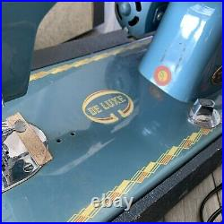 MORSE Vintage Deluxe 200 Sewing Machine With Foot Pedal Control Works Japan Blue