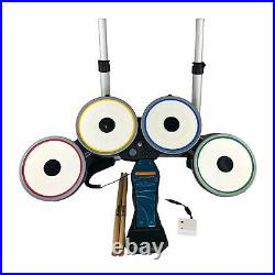 Wii Beatles Rock Band Drum Set withFoot Pedal Sticks Dongle Tested Works NWDMS3
